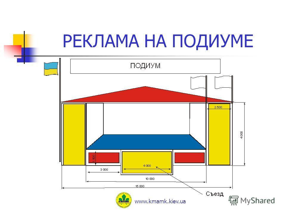 РЕКЛАМА НА ПОДИУМЕ www.kmamk.kiev.ua