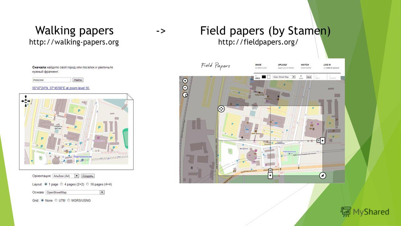 Field papers (by Stamen) Walking papers ->-> http://walking-papers.orghttp://fieldpapers.org/
