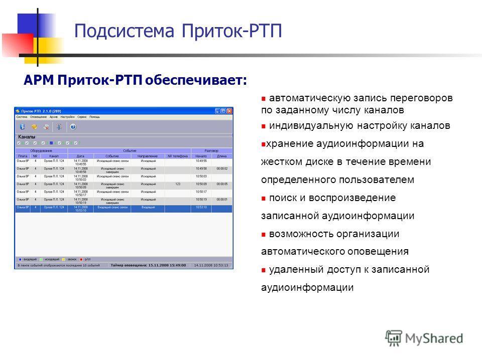 АРМ Приток-РТП обеспечивает: автоматическую запись переговоров по заданному числу каналов индивидуальную настройку каналов хранение аудиоинформации на жестком диске в течение времени определенного пользователем поиск и воспроизведение записанной ауди
