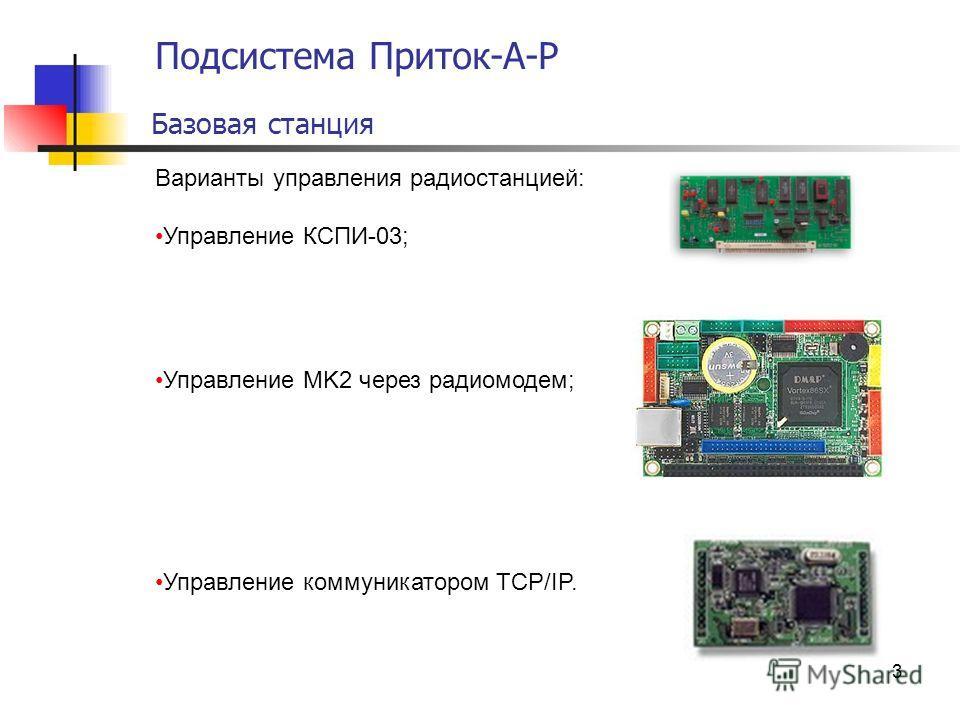 3 Подсистема Приток-А-Р Базовая станция Варианты управления радиостанцией: Управление КСПИ-03; Управление MK2 через радиомодем; Управление коммуникатором TCP/IP.