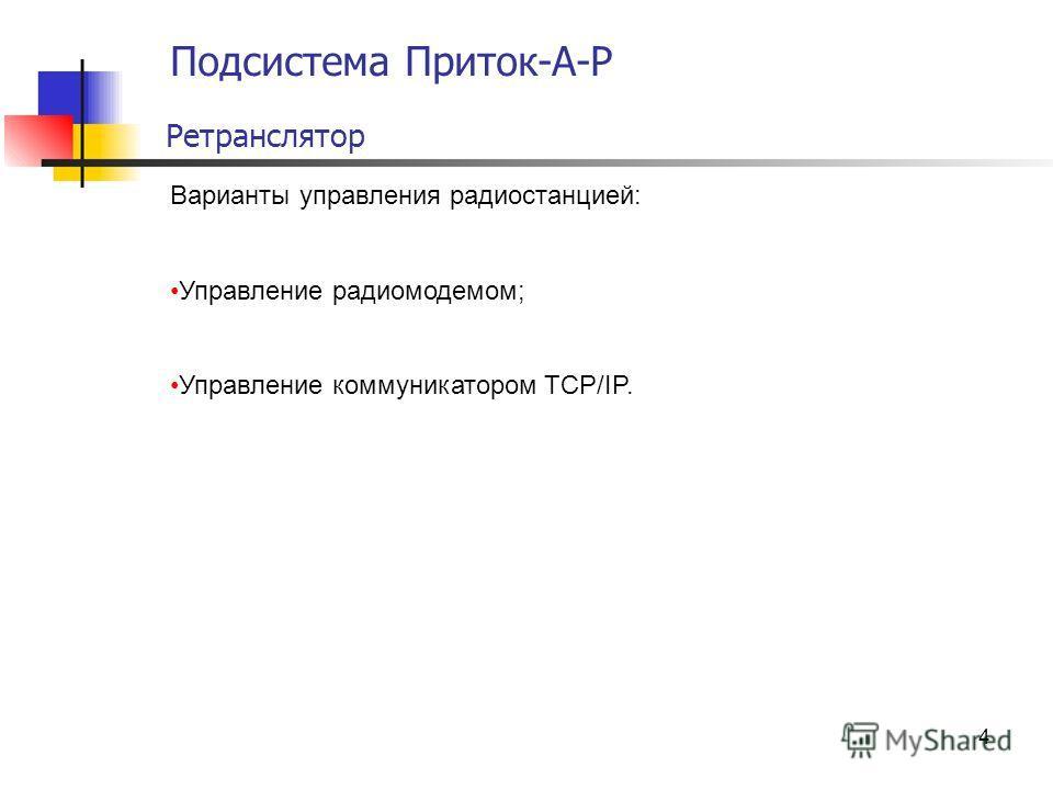 4 Подсистема Приток-А-Р Ретранслятор Варианты управления радиостанцией: Управление радиомодемом; Управление коммуникатором TCP/IP.