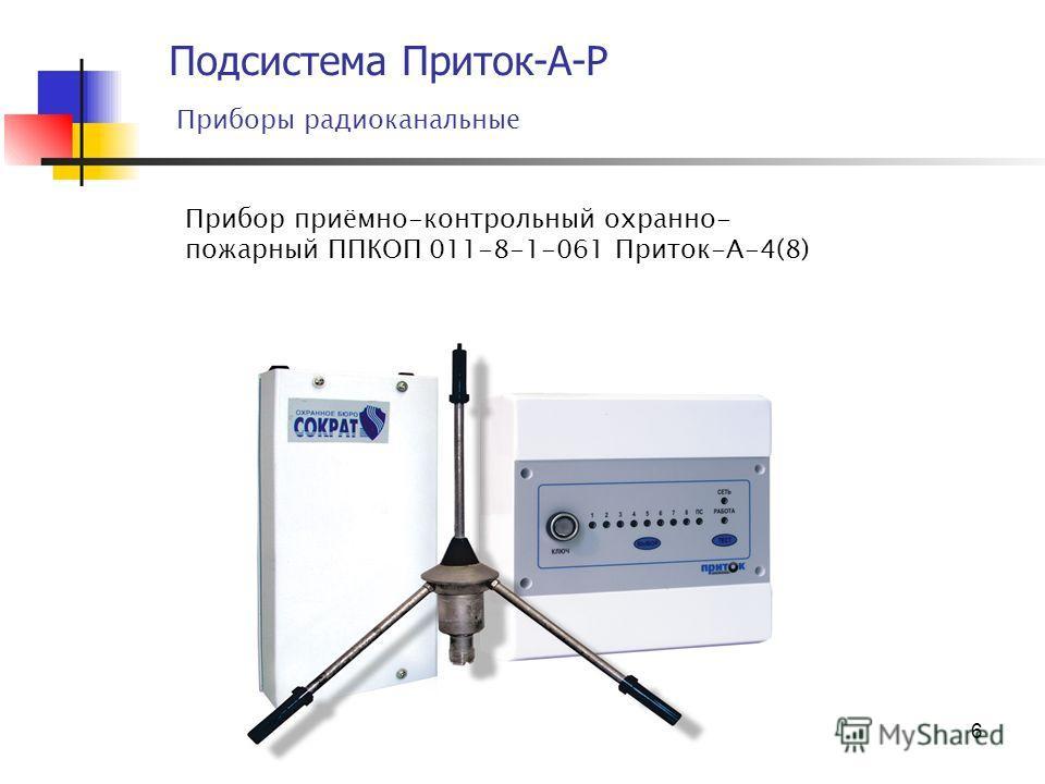 6 Подсистема Приток-А-Р Приборы радиоканальные Прибор приёмно-контрольный охранно- пожарный ППКОП 011-8-1-061 Приток-А-4(8)