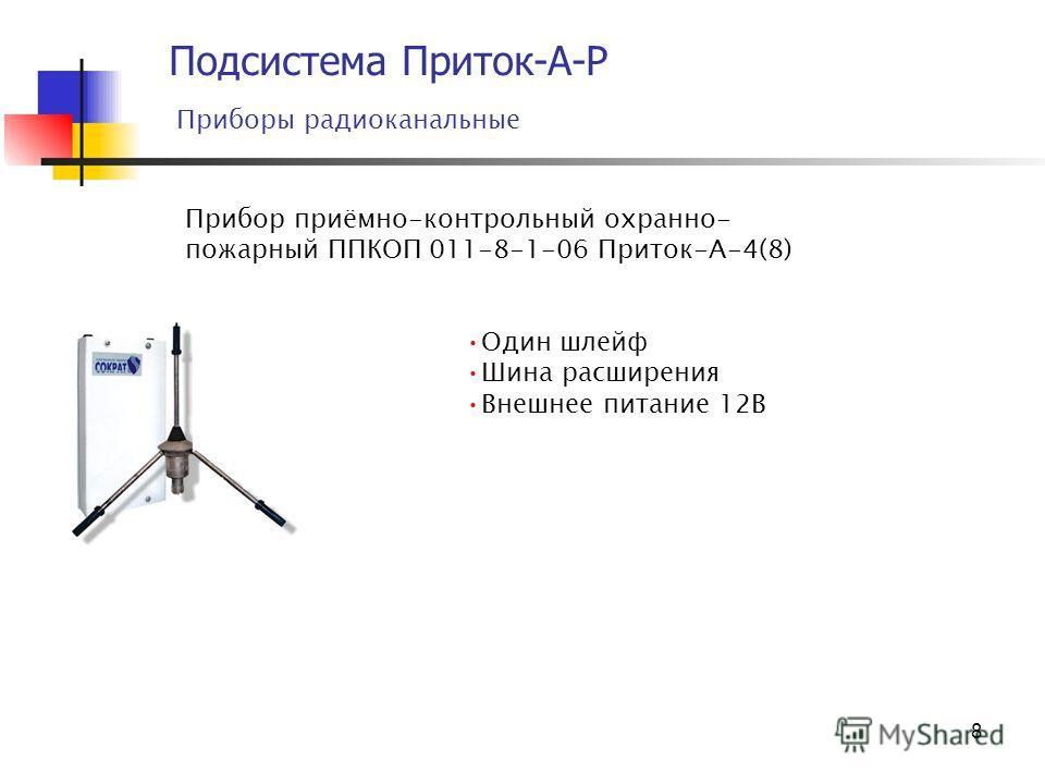 8 Подсистема Приток-А-Р Приборы радиоканальные Прибор приёмно-контрольный охранно- пожарный ППКОП 011-8-1-06 Приток-А-4(8) Один шлейф Шина расширения Внешнее питание 12В