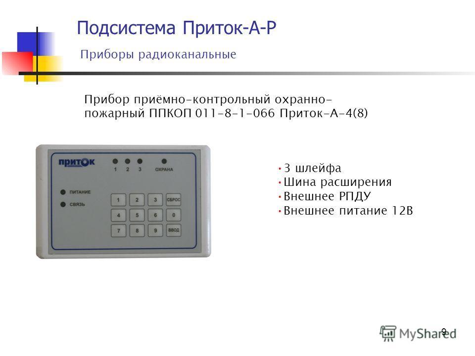 9 Подсистема Приток-А-Р Приборы радиоканальные Прибор приёмно-контрольный охранно- пожарный ППКОП 011-8-1-066 Приток-А-4(8) 3 шлейфа Шина расширения Внешнее РПДУ Внешнее питание 12В