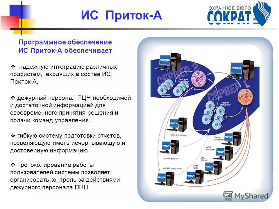 Программное обеспечение ИС Приток-А обеспечивает надежную интеграцию различных подсистем, входящих в состав ИС Приток-А, дежурный персонал ПЦН необходимой и достаточной информацией для своевременного принятия решения и подачи команд управления. гибку