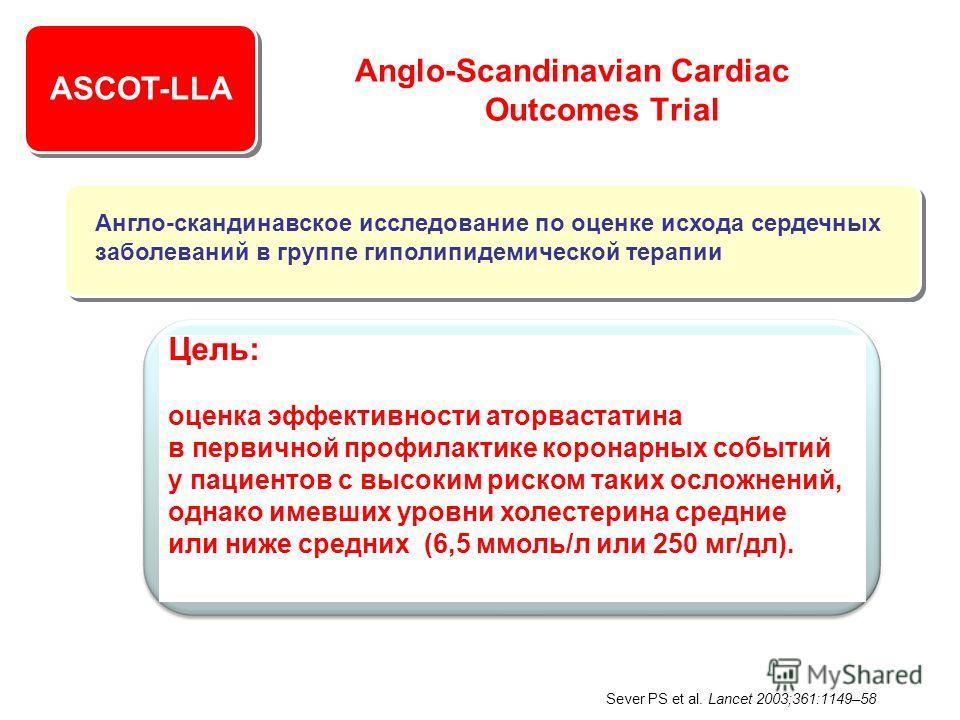 ASCOT-LLA Anglo-Scandinavian Cardiac Outcomes Trial Цель: оценка эффективности аторвастатина в первичной профилактике коронарных событий у пациентов с высоким риском таких осложнений, однако имевших уровни холестерина средние или ниже средних (6,5 мм