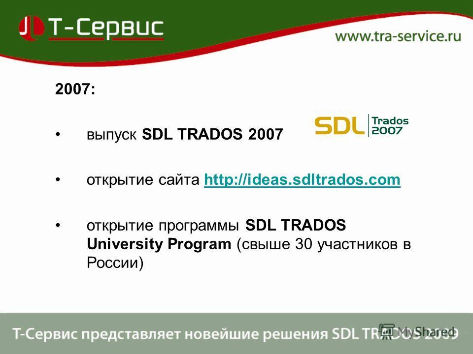 2007: выпуск SDL TRADOS 2007 открытие сайта http://ideas.sdltrados.comhttp://ideas.sdltrados.com открытие программы SDL TRADOS University Program (свыше 30 участников в России)