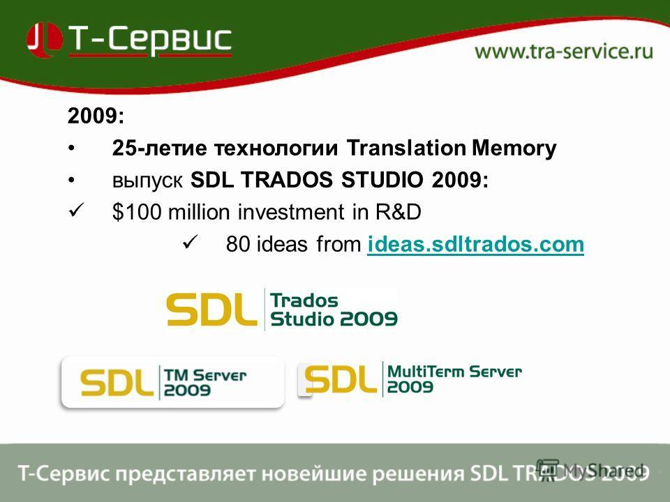 2009: 25-летие технологии Translation Memory выпуск SDL TRADOS STUDIO 2009: $100 million investment in R&D 80 ideas from ideas.sdltrados.comideas.sdltrados.com