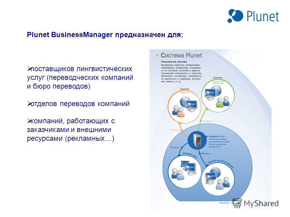 Plunet BusinessManager предназначен для: поставщиков лингвистических услуг (переводческих компаний и бюро переводов) отделов переводов компаний компаний, работающих с заказчиками и внешними ресурсами (рекламных…)