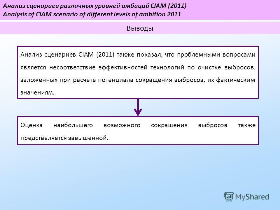Анализ сценариев CIAM (2011) также показал, что проблемными вопросами является несоответствие эффективностей технологий по очистке выбросов, заложенных при расчете потенциала сокращения выбросов, их фактическим значениям. Анализ сценариев различных у