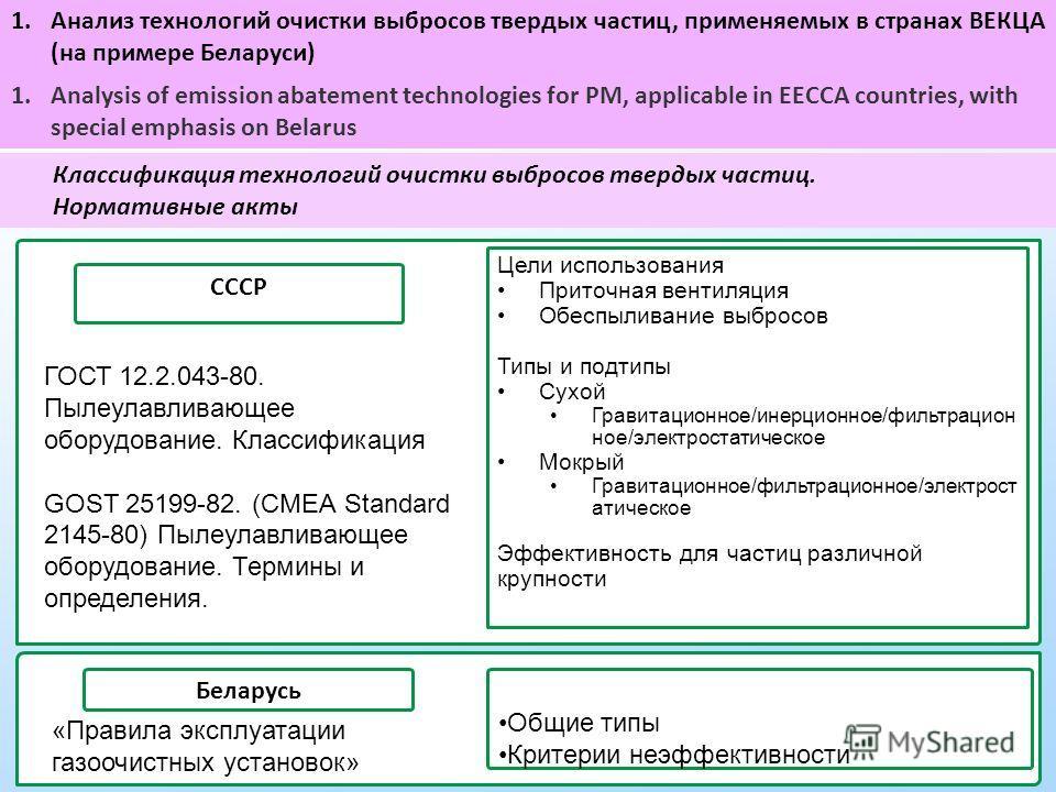 Классификация технологий очистки выбросов твердых частиц. Нормативные акты СССР Цели использования Приточная вентиляция Обеспыливание выбросов Типы и подтипы Сухой Гравитационное/инерционное/фильтрацион ное/электростатическое Мокрый Гравитационное/фи