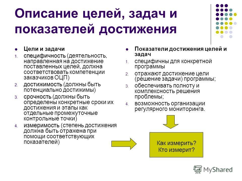 Описание целей, задач и показателей достижения Цели и задачи 1. специфичность 1. специфичность (деятельность, направленная на достижение поставленных целей, должна соответствовать компетенции заказчиков ОЦП) 2. достижимость 2. достижимость (должны бы