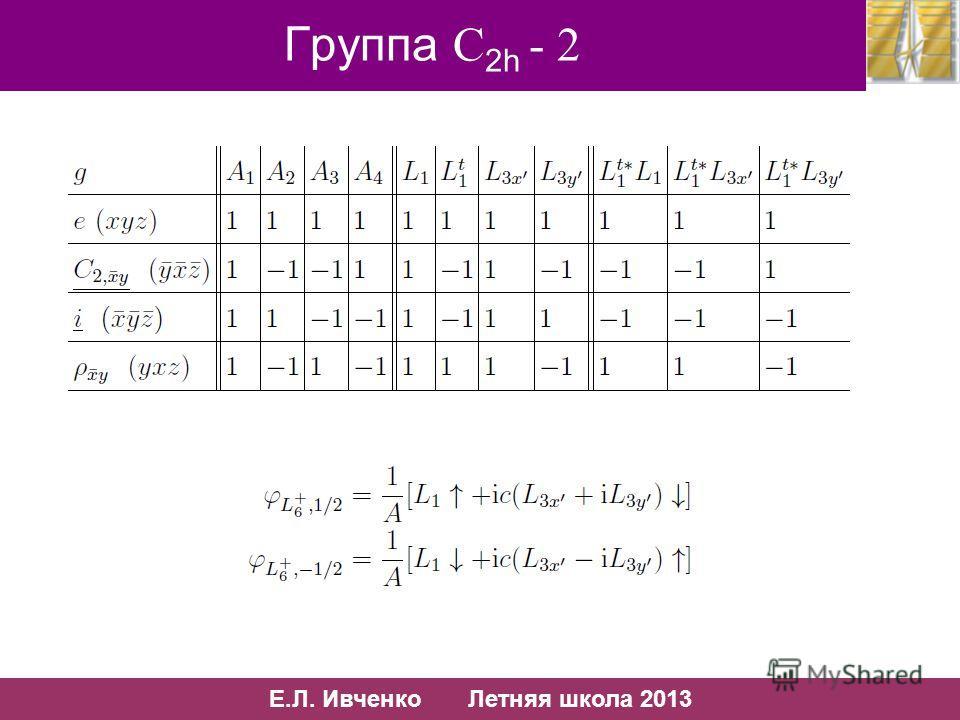 58/10 Е.Л. Ивченко Летняя школа 2013 58/13 Группа С 2h - 2