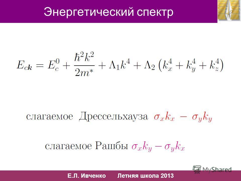 7/10 Е.Л. Ивченко Летняя школа 2013 7/13 Энергетический спектр