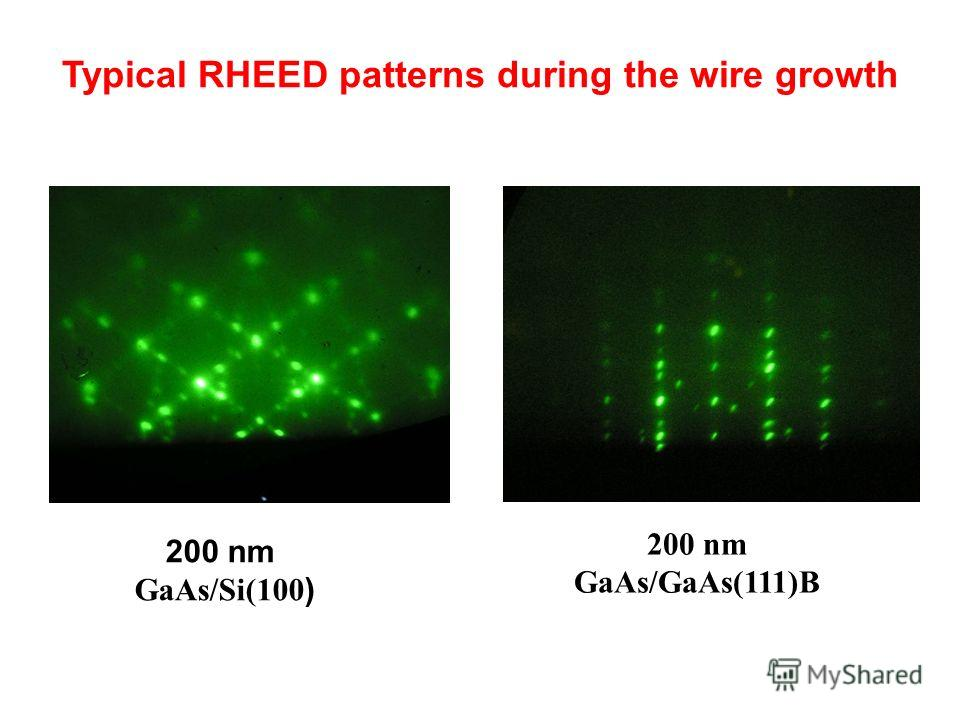Typical RHEED patterns during the wire growth 200 nm GaAs/GaAs(111)B 200 nm GaAs/Si(100 )