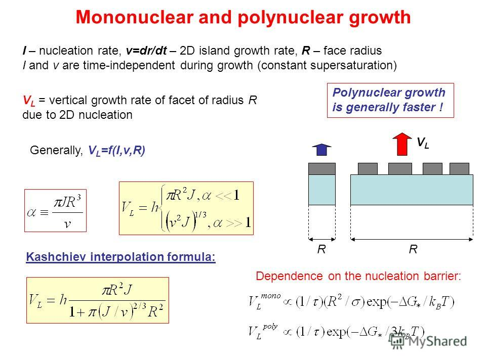 Mononuclear and polynuclear growth I – nucleation rate, v=dr/dt – 2D island growth rate, R – face radius I and v are time-independent during growth (constant supersaturation) Kashchiev interpolation formula: V L = vertical growth rate of facet of rad