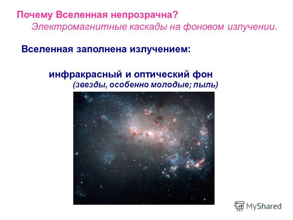 Вселенная заполнена излучением: Почему Вселенная непрозрачна? Электромагнитные каскады на фоновом излучении. фоновое радиоизлучение (радиогалактики, скопления галактик)