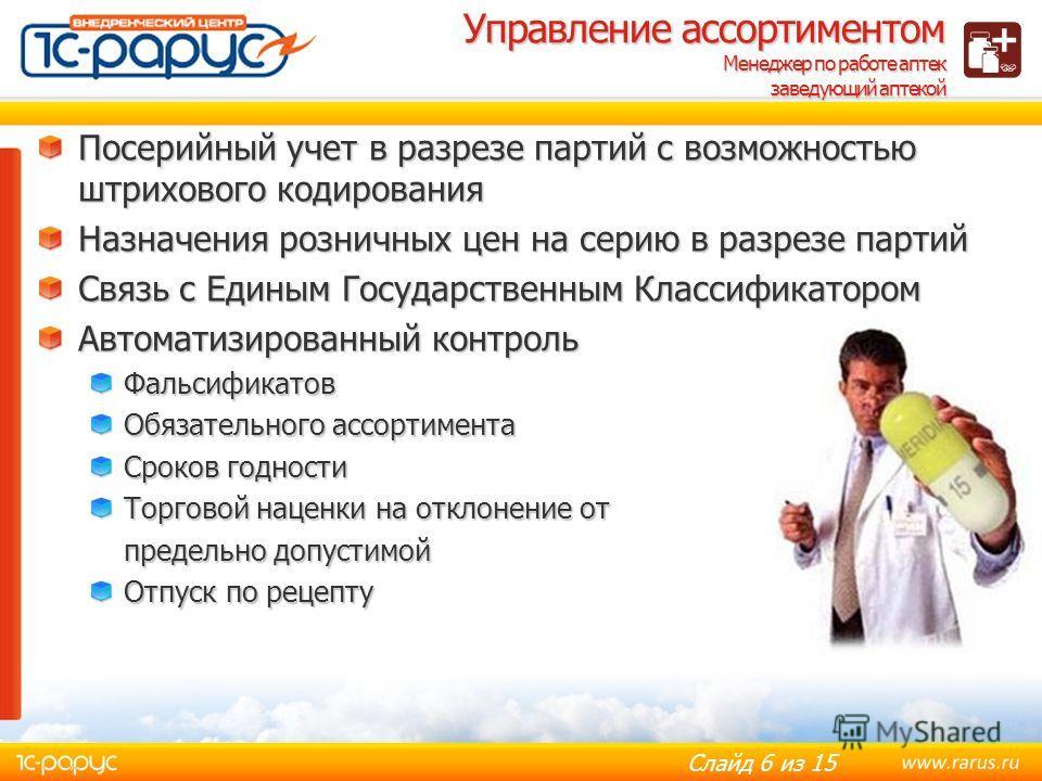 Слайд 5 из 15 Пользователи системы Первостольник Заведующий аптекой Менеджер по работе аптек