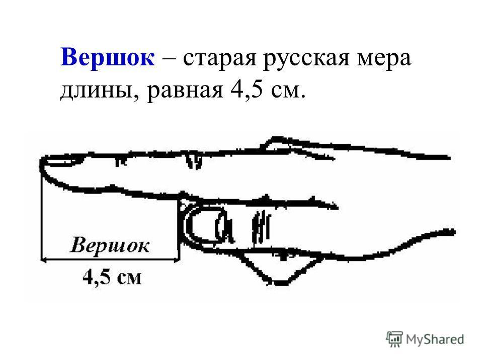 Вершок – старая русская мера длины, равная 4,5 см.