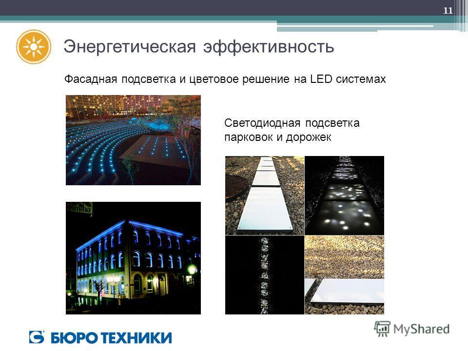 Энергетическая эффективность Фасадная подсветка и цветовое решение на LED системах Светодиодная подсветка парковок и дорожек 11