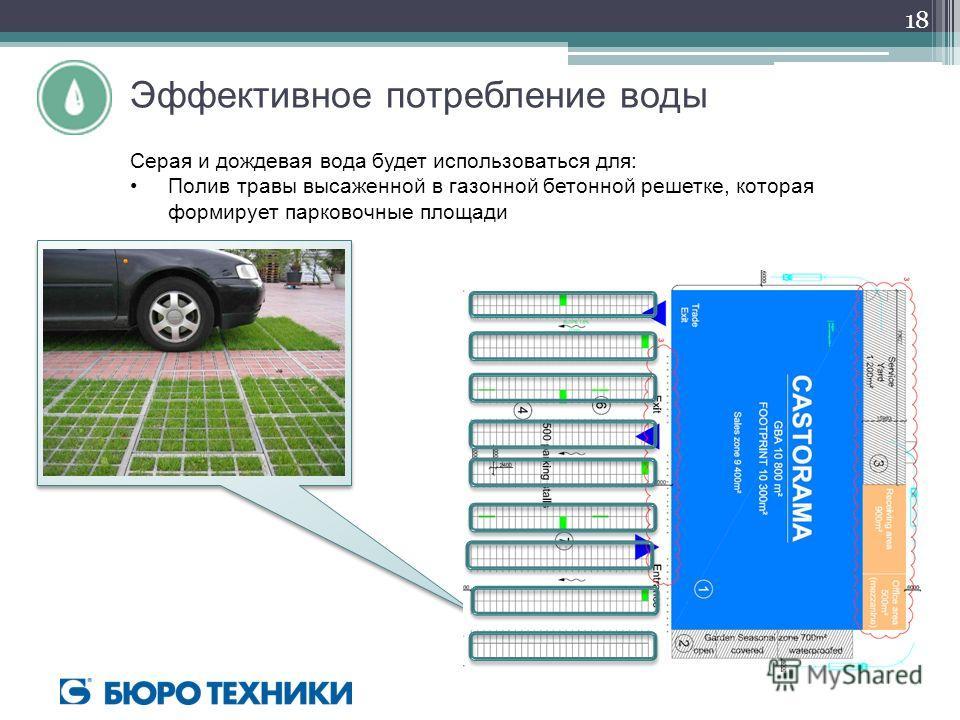 Эффективное потребление воды Серая и дождевая вода будет использоваться для: Полив травы высаженной в газонной бетонной решетке, которая формирует парковочные площади 18
