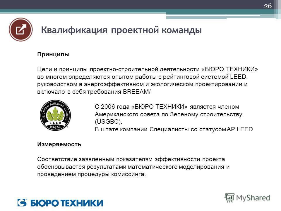 Принципы Цели и принципы проектно-строительной деятельности «БЮРО ТЕХНИКИ» во многом определяются опытом работы с рейтинговой системой LEED, руководством в энергоэффективном и экологическом проектировании и включало в себя требования BREEAM/ С 2006 г
