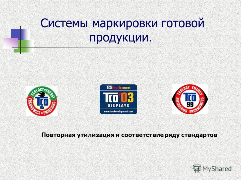 Системы маркировки готовой продукции. Повторная утилизация и соответствие ряду стандартов