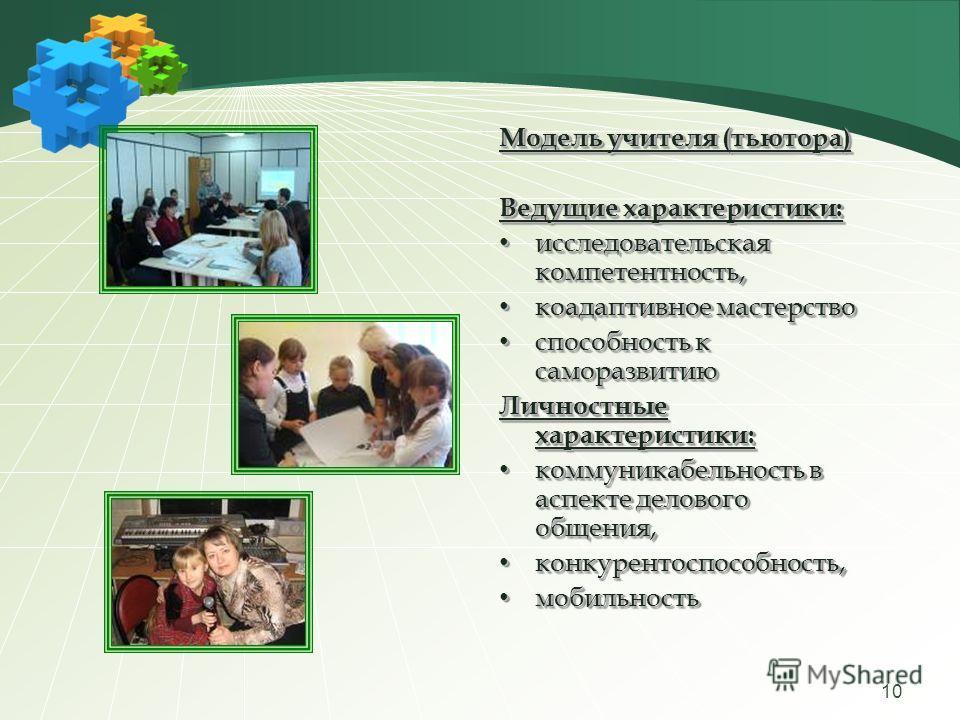 10 Модель учителя (тьютора) Ведущие характеристики: исследовательская компетентность, исследовательская компетентность, коадаптивное мастерство коадаптивное мастерство способность к саморазвитию способность к саморазвитию Личностные характеристики: к