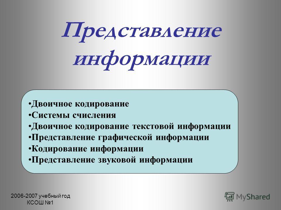 2006-2007 учебный год КСОШ 1 Представление информации Двоичное кодирование Системы счисления Двоичное кодирование текстовой информации Представление графической информации Кодирование информации Представление звуковой информации