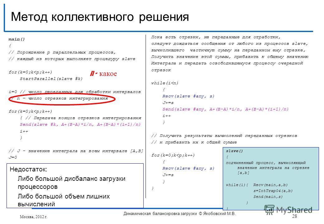 main() { // Порождение p параллельных процессов, // каждый из которых выполняет процедуру slave for(k=0;k
