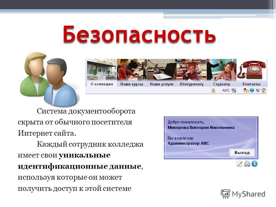 Безопасность Система документооборота скрыта от обычного посетителя Интернет сайта. Каждый сотрудник колледжа имеет свои уникальные идентификационные данные, используя которые он может получить доступ к этой системе
