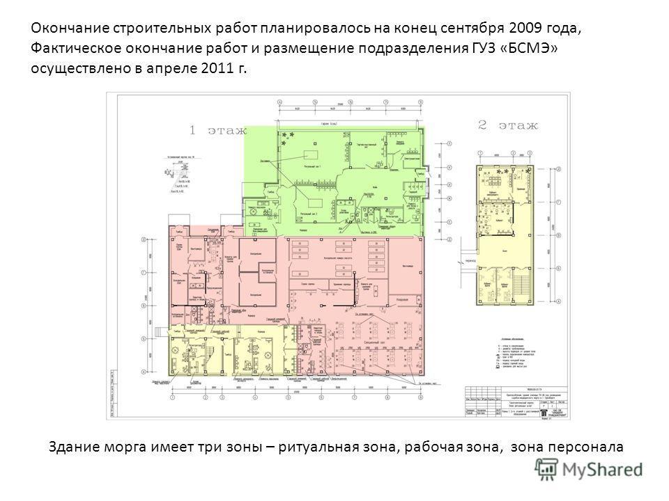 Окончание строительных работ планировалось на конец сентября 2009 года, Фактическое окончание работ и размещение подразделения ГУЗ «БСМЭ» осуществлено в апреле 2011 г. Здание морга имеет три зоны – ритуальная зона, рабочая зона, зона персонала