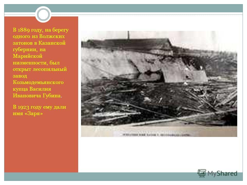 В 1889 году, на берегу одного из Волжских затонов в Казанской губернии, на Марийской низменности, был открыт лесопильный завод Козьмодемьянского купца Василия Ивановича Губина. В 1923 году ему дали имя «Заря»