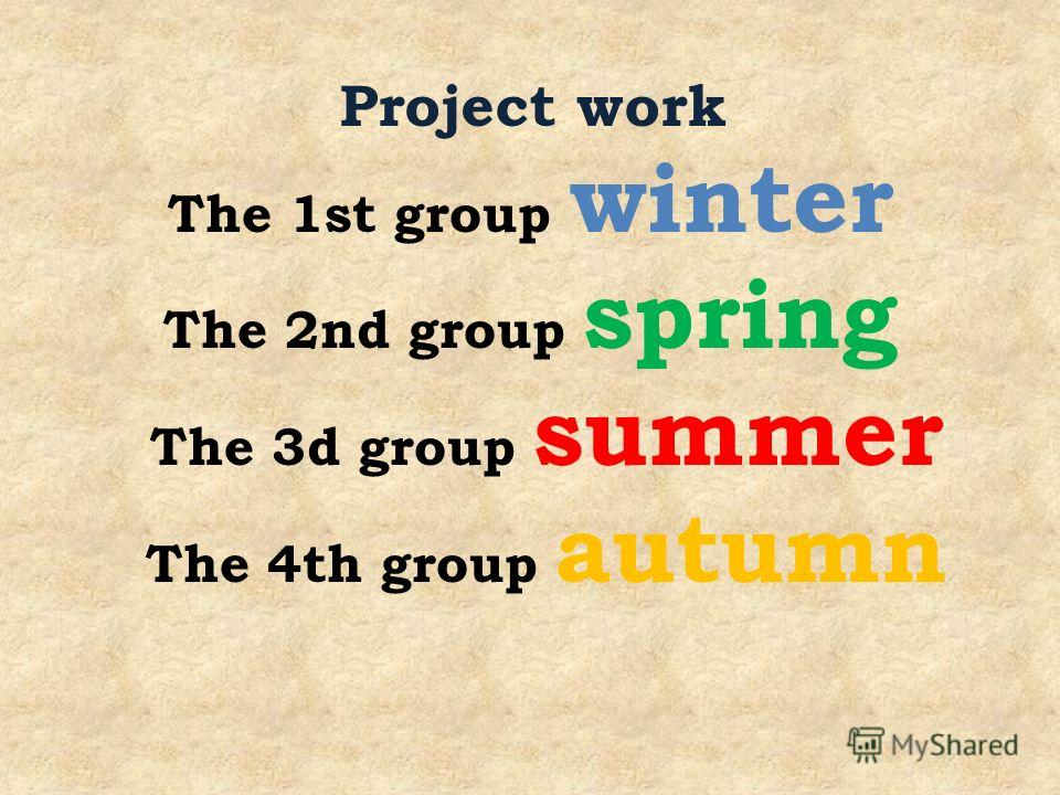 The 1st group winter The 2nd group spring The 3d group summer The 4th group autumn Project work