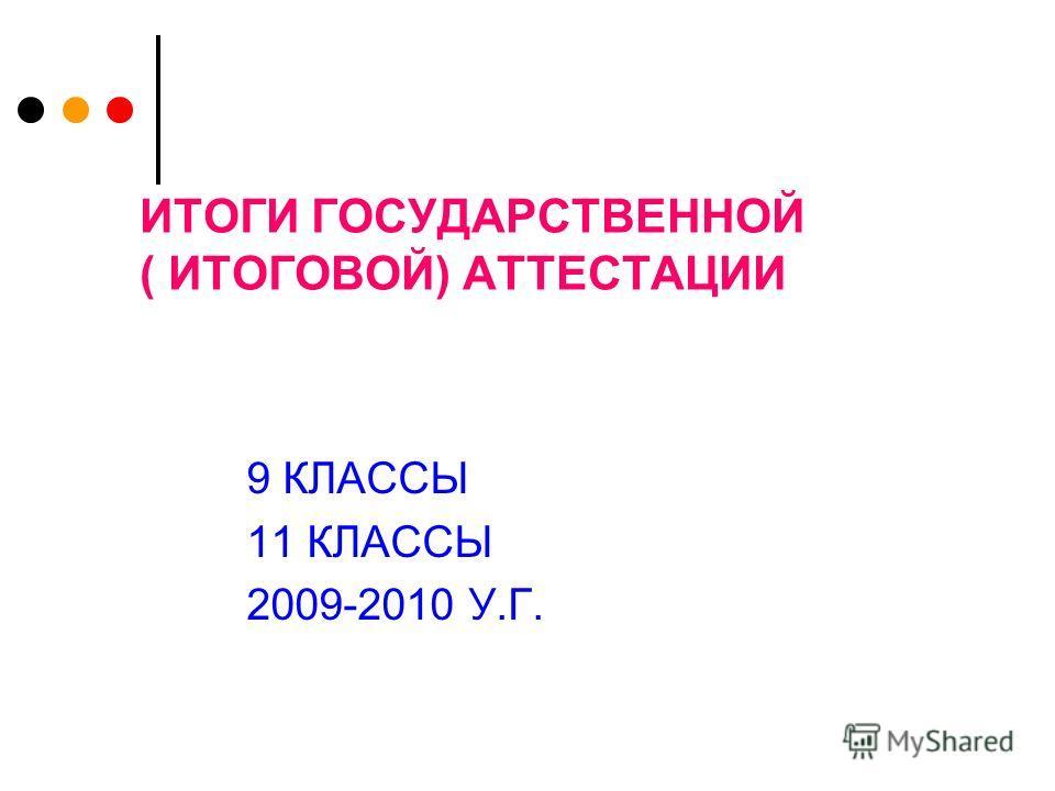 ИТОГИ ГОСУДАРСТВЕННОЙ ( ИТОГОВОЙ) АТТЕСТАЦИИ 9 КЛАССЫ 11 КЛАССЫ 2009-2010 У.Г.