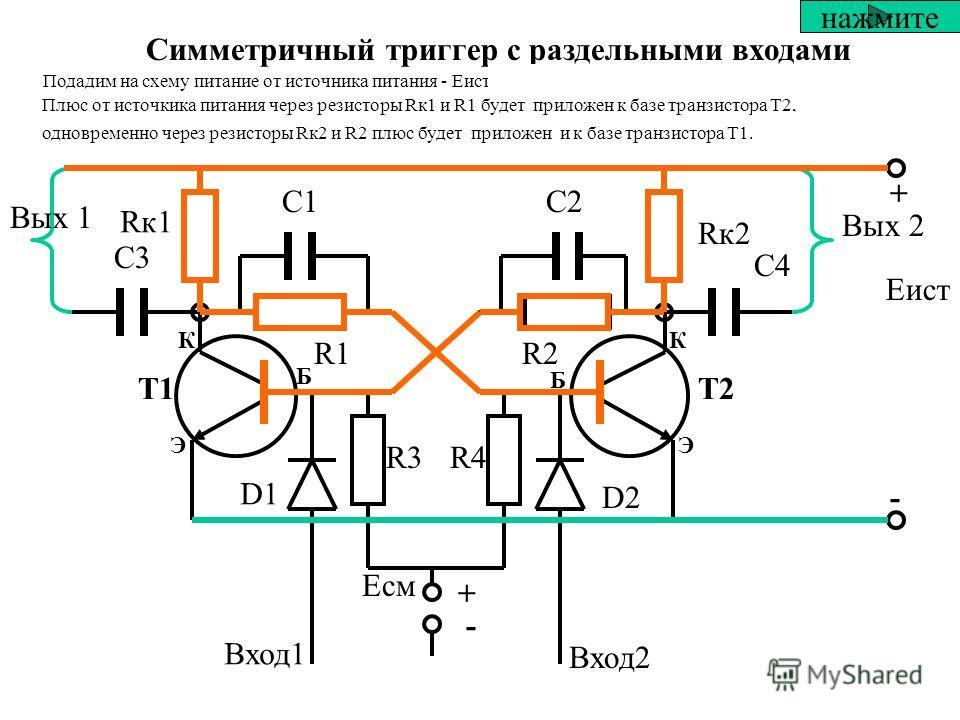 Триггеры включают в себя следующие элементы + Т1Т2 + - - Rк1 Rк2 С1С2 R1R1R2R2 D1 D2 R3R4 С3С3 С4С4 Вых 1 Вых 2 Вход1 Вход2 Еист Есм нажмите D1 и D2 – развязывающие диоды. Служат для устранения взаимного влияния выхода источника сигналов и входов три