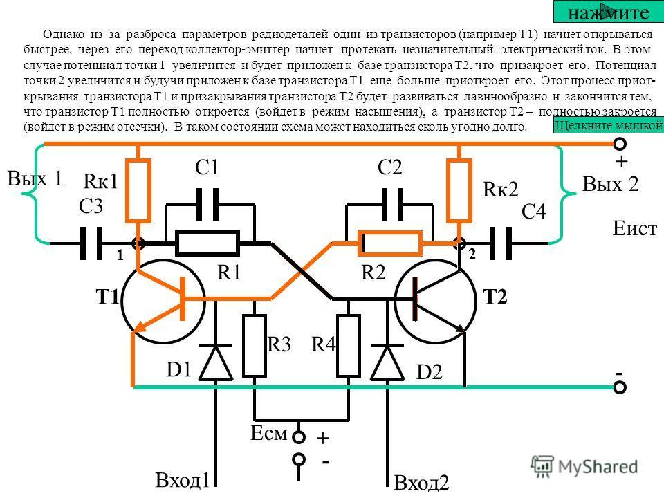 Симметричный триггер с раздельными входами + Т1Т2 + - - Rк1 Rк2 С1С2 R1R1R2R2 D1 D2 R3R4 С3С3 С4С4 Вых 1 Вых 2 Вход1 Вход2 Еист Есм Подадим на схему питание от источника питания - Еист Плюс от источкика питания через резисторы Rк1 и R1 будет приложен