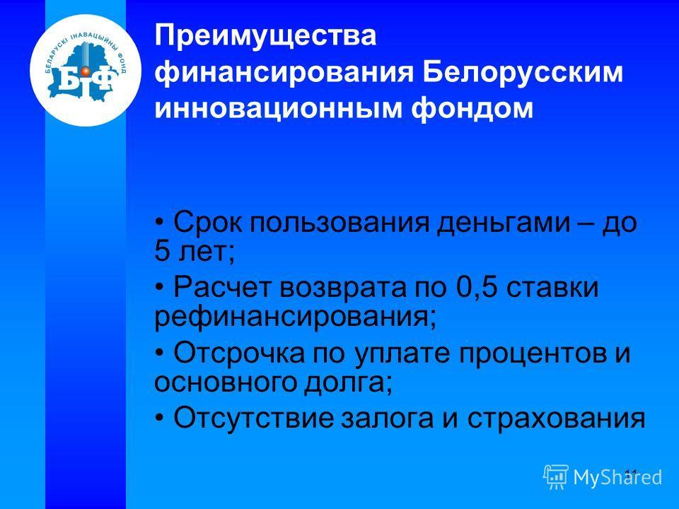 11 Преимущества финансирования Белорусским инновационным фондом Срок пользования деньгами – до 5 лет; Расчет возврата по 0,5 ставки рефинансирования; Отсрочка по уплате процентов и основного долга; Отсутствие залога и страхования