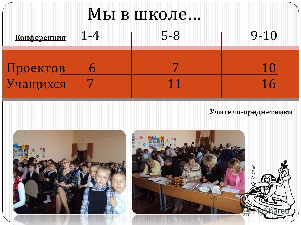 Мы в школе … Конференция 1-4 5-8 9-10 Проектов 6 7 10 Учащихся 7 11 16 Учителя - предметники