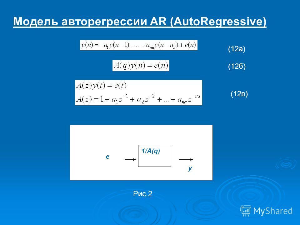 Модель авторегрессии AR (AutoRegressive) y 1/A(q) e (12а) (12б) (12в) Рис.2