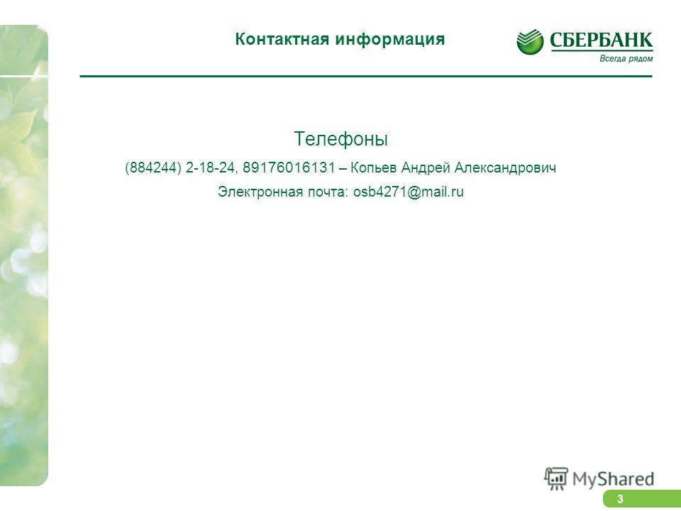 3 Контактная информация Телефоны (884244) 2-18-24, 89176016131 – Копьев Андрей Александрович Электронная почта: osb4271@mail.ru Контактная информация