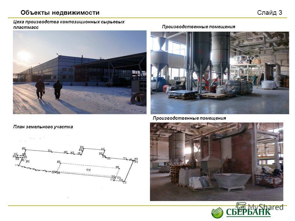 Объекты недвижимости Слайд 3 Цеха производства композиционных сырьевых пластмасс Производственные помещения План земельного участка Производственные помещения