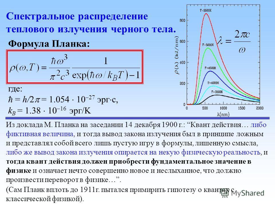 Формула Планка: где: = h/2 = 1.054 10 27 эрг с, k B = 1.38 10 16 эрг/K Спектральное распределение теплового излучения черного тела. Из доклада М. Планка на заседании 14 декабря 1900 г.: Квант действия… либо фиктивная величина, и тогда вывод закона из