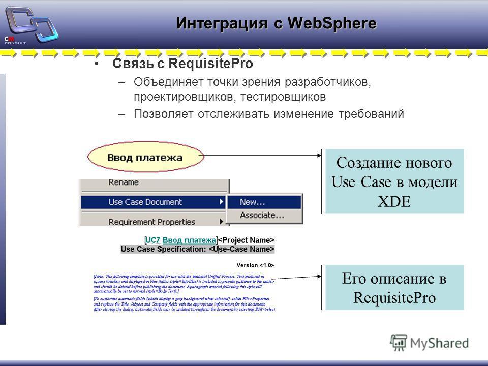 Интеграция с WebSphere Связь с RequisitePro –Объединяет точки зрения разработчиков, проектировщиков, тестировщиков –Позволяет отслеживать изменение требований Создание нового Use Case в модели XDE Его описание в RequisitePro