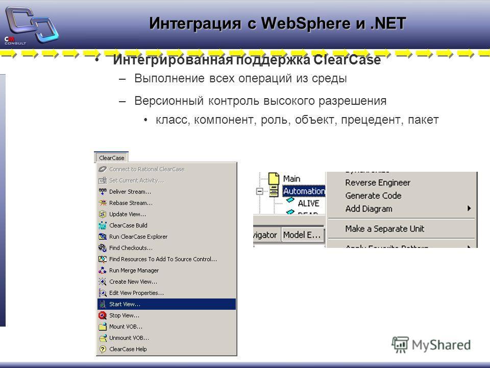 Интегрированная поддержка ClearCase –Выполнение всех операций из среды –Версионный контроль высокого разрешения класс, компонент, роль, объект, прецедент, пакет Интеграция с WebSphere и.NET