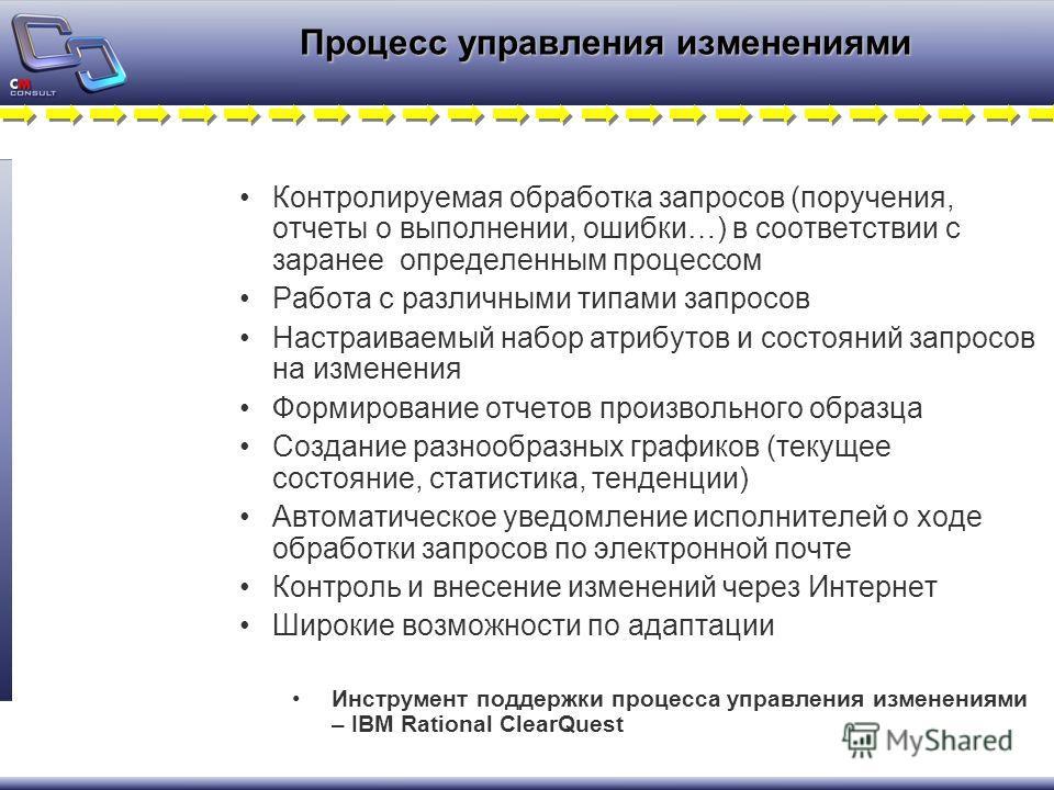 Процесс управления изменениями Контролируемая обработка запросов (поручения, отчеты о выполнении, ошибки…) в соответствии с заранее определенным процессом Работа с различными типами запросов Настраиваемый набор атрибутов и состояний запросов на измен
