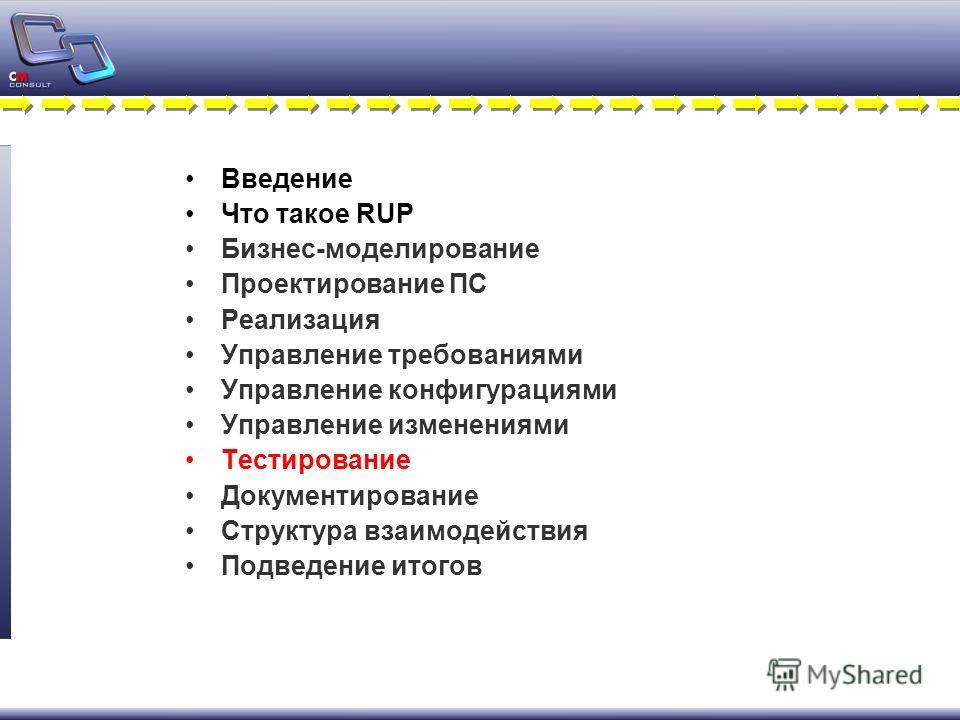 Введение Что такое RUP Бизнес-моделирование Проектирование ПС Реализация Управление требованиями Управление конфигурациями Управление изменениями Тестирование Документирование Структура взаимодействия Подведение итогов