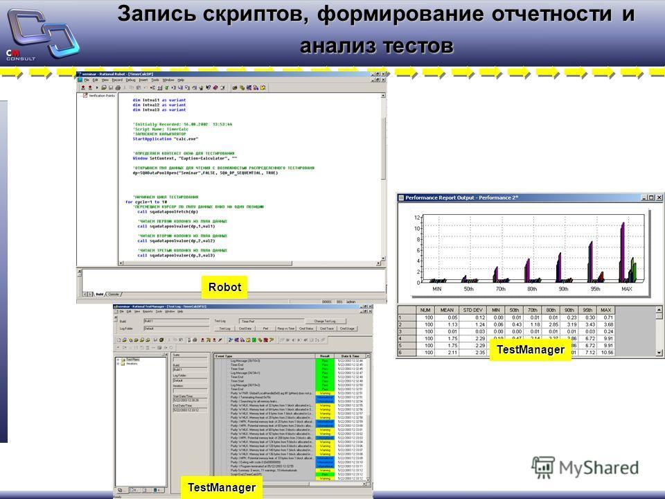 Запись скриптов, формирование отчетности и анализ тестов Robot TestManager TestManager