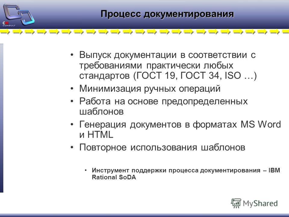 Процесс документирования Выпуск документации в соответствии с требованиями практически любых стандартов (ГОСТ 19, ГОСТ 34, ISO …) Минимизация ручных операций Работа на основе предопределенных шаблонов Генерация документов в форматах MS Word и HTML По