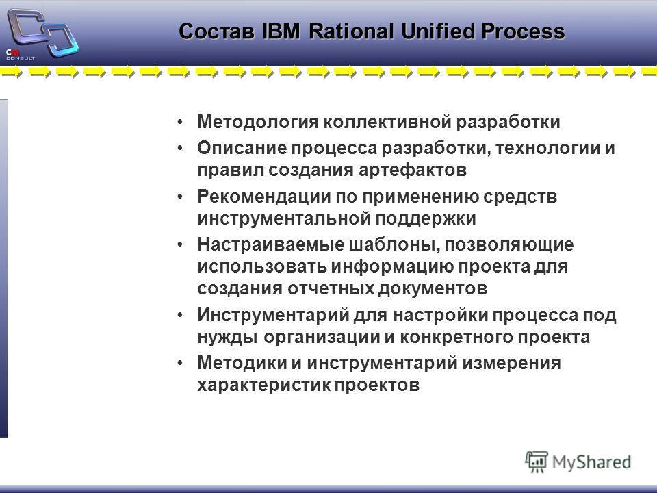 Состав IBM Rational Unified Process Методология коллективной разработки Описание процесса разработки, технологии и правил создания артефактов Рекомендации по применению средств инструментальной поддержки Настраиваемые шаблоны, позволяющие использоват